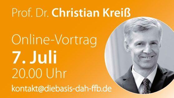 Online-Vortrag Prof. Dr. Christian Kreiß